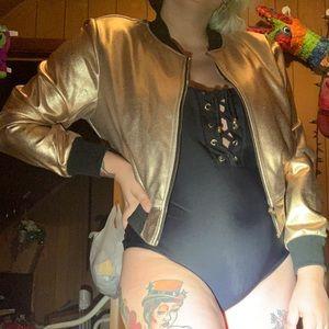 Gold Metallic Bomber Jacket